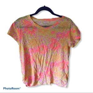 Lilly Pulitzer Yellow/Pink Floral Print Tee Medium